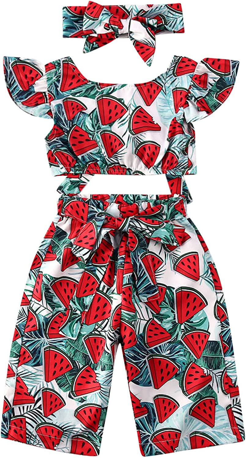 Toddler Girls Watermelon Outfits Ruffle Tie Back Crop Top Sleeveless Camisole Fruit Print Wide Leg Pants Summer