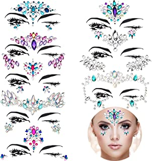 TOODOO 8 Sets Mermaid Face Gems Glitter Sticker Rhinestone Bindis Crystal Face Jewels Tattoo Forehead Decorations for Women Favors (Pattern Set 1)