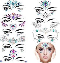 TOODOO 8 Sets Mermaid Face Gems Glitter Sticker Rhinestone Bindis Crystal Face Jewels Tattoo Forehead Decorations for Women Favors (Pattern Set 1)