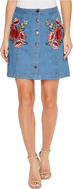 Brigitte Bailey - Amilea Button Up Skirt with Patches