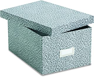 Oxford 40590 Reinforced Board Card File, Lift-Off Cover, Holds 1,200 5 x 8 Cards, Black/White
