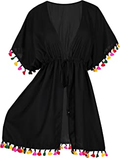 Womens Loose Kimono Cardigan Beach Coverup Capes Blouse Top Solid Plain