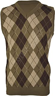 Clothing Unit VS1 Mens Argyle V Neck Sleeveless Sweater Jumper Tank Top Jersey Golf Casual