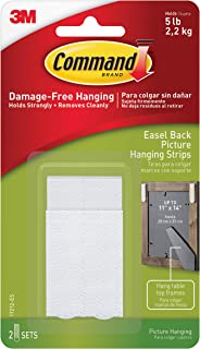 Command 5 lb Easel-Back Frame Picture Hanging Strips, White, 2 sets (2 pairs & 2 spacers) (17212-ES)