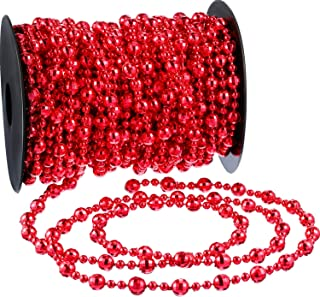 Pangda 49 Feet Christmas Tree Beads Garland Strands Chain for Christmas Wreath Decoration Table Centerpiece (Red)