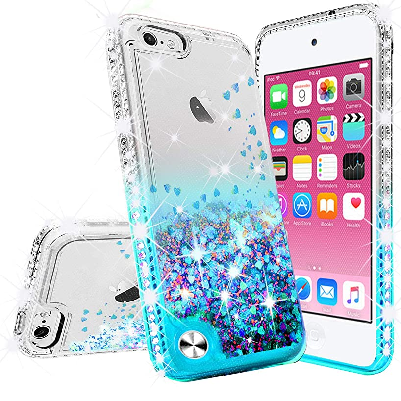GW USA for iPod Touch 6 Case, iPod 6/5 Case [Tempered Glass Screen Protector],Glitter Liquid Quicksand Bling Sparkle Diamond Ring Stand Case for Apple iPod Touch 5/6th Generation, (Aqua)