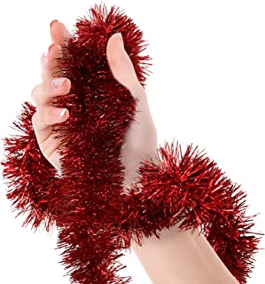 Valentines Day Red Tinsel Garland Christmas Tree Metallic Streamers Celebrate a Holiday Happy Birthday New Years Eve Wedding Party Indoor and Outdoor Disco Decorations Supplies