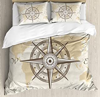 Ambesonne Compass Duvet Cover Set King Size, Nautical Compass on Background Old Map with Torn Border Frame Illustration Print, Decorative 3 Piece Bedding Set with 2 Pillow Shams, Beige Brown