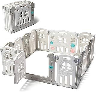 Play22 - Parque infantil plegable, 14 paneles, centro de juego de actividades de seguridad para niños, juego de seguridad para niños, juego de patio, corrales de seguridad para juegos en interiores y exteriores, forma ajustable, sin BPA