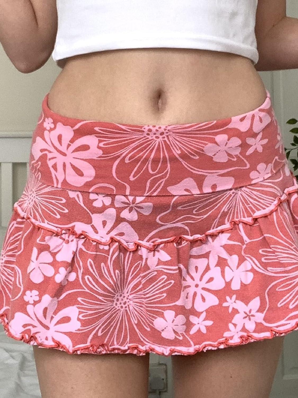Y2K High Waist Pleated Mini Skirt for Women Paisley Floral Print A-line Short Skirts 2021 E-Girls Streetwear