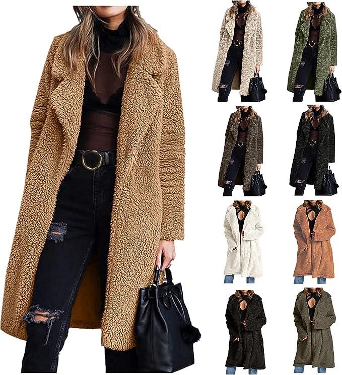 Gillberry Women's Fuzzy Fleece Coat Lapel Long Cardigan Faux Fur Warm Winter Casual Outwear Button Down Jackets