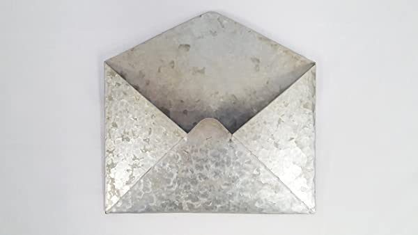 Galvanized Metal Wall Mounted Hanging Envelope Decor Rustic Vintage Style Decorative Organizer Holder Distressed Antique Silver Tin Color Unique Retro Pocket Mail Holder For Your Home Or Office