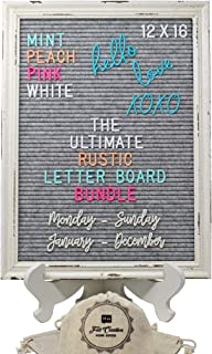 Large Rustic Gray Felt Letter Board Ultimate Bundle Farmhouse Vintage White Wood Frame and Stand by Felt Creative Home Goods 12x16 Inch Changeable Message Board 800+ Letter Set Numbers Emoji Cursive