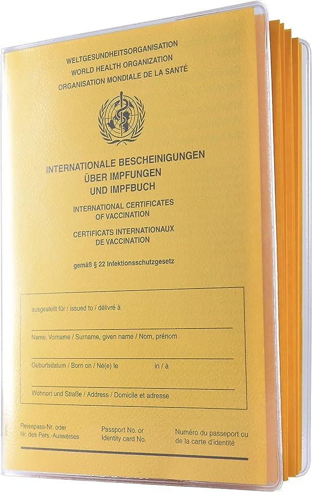 2er Set Schutzhüllen für aktuellen Internat. Impfpass (hochwertige Umschlaghülle mit Buchrücken) orgaexpert - dokumentenecht - Made in Germany Impfausweis Impfbuch Hülle Etui Impfbescheinigung