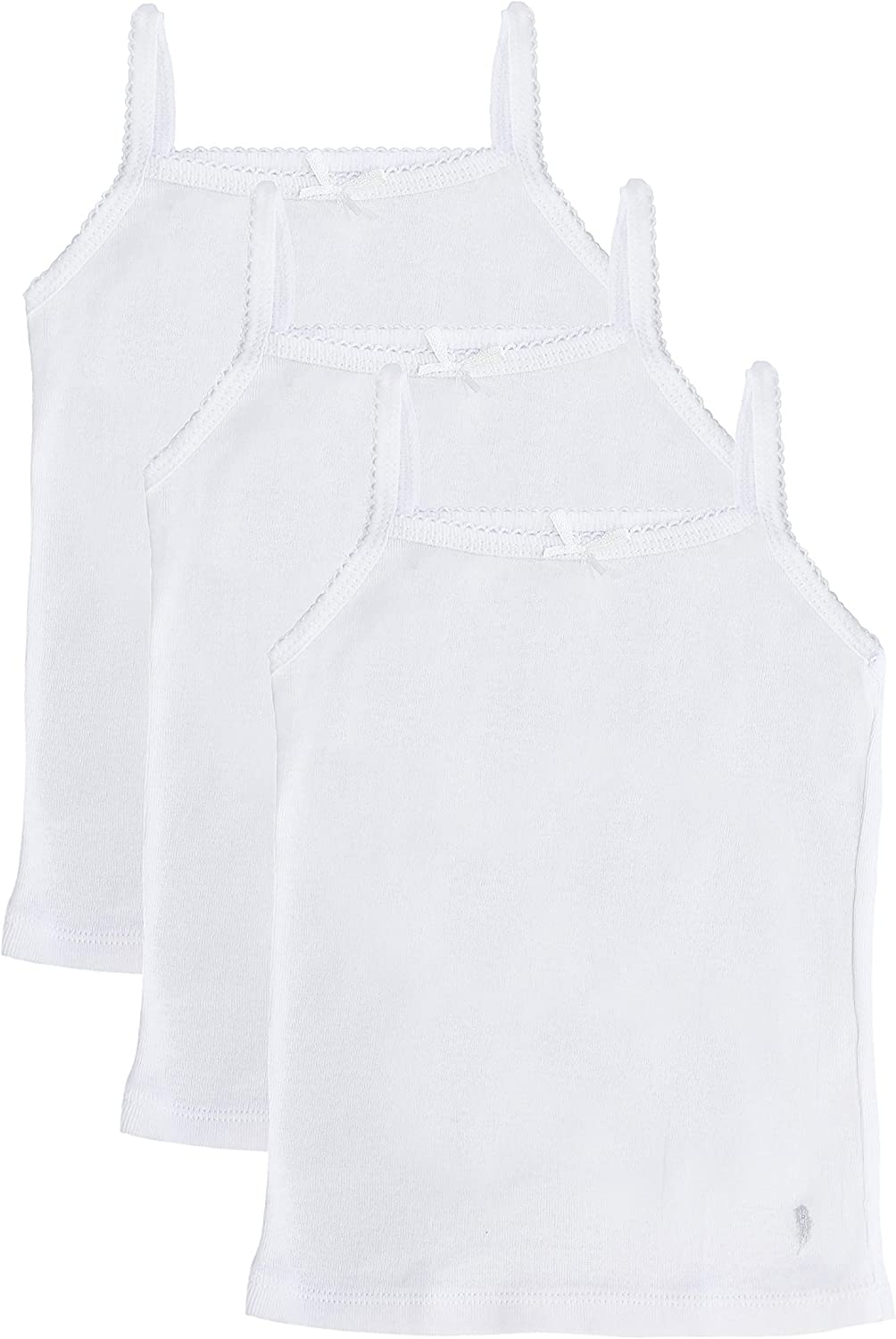 Feathers Girls Solid White Snug Fit Tagless Cami Vest - 100% Cotton Super Soft Undershirts (3/Pack)