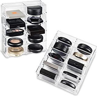 byAlegory Acrylic Compact Makeup Organizer Designed For Larger Compacts | 10 Space Side by Side Storage Designed To Stand Or Lay Flat - Clear