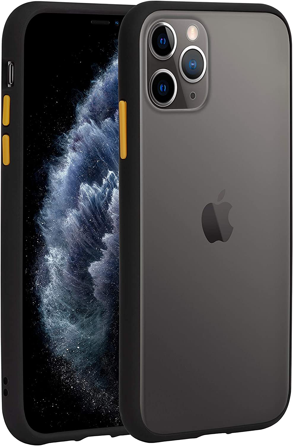 AlphaCell Translucent Matte Bumper Case for iPhone 11 Pro (5.8 Inch), Protective Frosted Slim Fit Ultra-Thin Cover, Shockproof Drop Protection with Soft TPU Edges and Hard PC Back | Black/Yellow