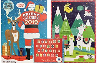 Trader Joes Advent Calendar 2019 - Exclusive Milk Chocolate Christmas Trader Joe's Advent Calendar (Set of 2) & The Happy Giver Magnetic Advent Calendar (2)