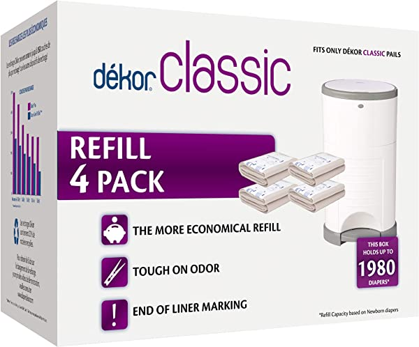 Dekor Classic Diaper Pail Refills 4 Count Most Economical Refill System Quick Easy To Replace No Preset Bag Size Use Only What You Need Exclusive End Of Liner Marking Baby Powder Scent