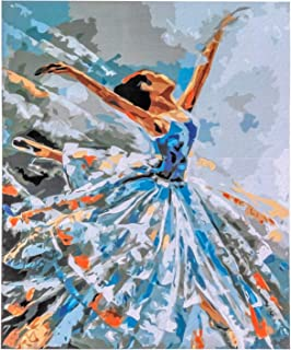 Paint by Numbers for Adults Framed, DIY Oil Painting Kit for Beginner and Kids with Acrylic Paints, Brushes and Canvas with Frame 16 x 20 Inch - Ballerina in Blue - by Tsvetnoy