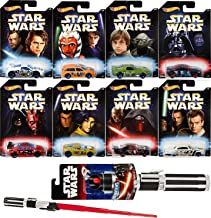 Hot Wheels Darth Vader Star Wars Master & Apprentice Exclusive Game Set Pack 8 Car Darth/ Yoda / Luke + Extendable Red Lightsaber Play Action