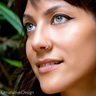 Boho Nose Ring, Sterling Silver Unique Ethnic Nose Hoop Piercing Earring, fits Tragus, Earlobes, Helix, Septum, 20g, Handmade Piercing Jewelry
