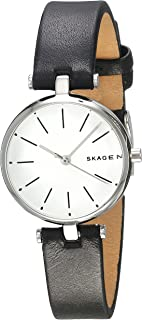 Women's Signatur Stainless Steel Analog-Quartz Watch with Leather Calfskin Strap, Black, 12 (Model: SKW2639)