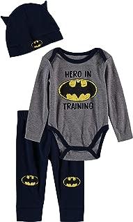 Batman Baby Boys Newborn Infants 3 Piece Bodysuit Pants and Accessory Set