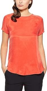 Oxford Women's Katrina Woven Front T-Shirt, Tangerine