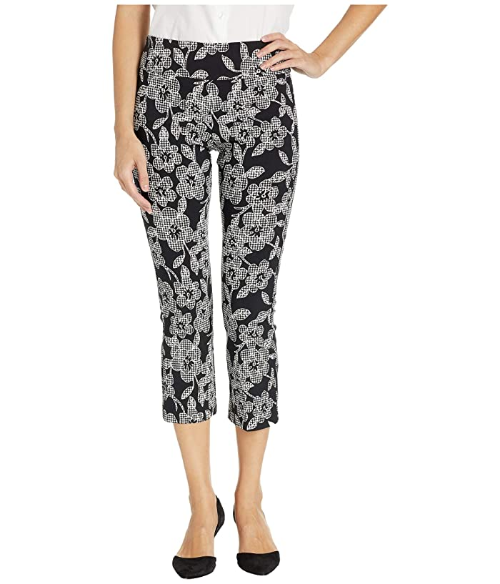 Elliott Lauren Check Point Pull-On Bootcut Crop Pants with Kick Flare (Black/White) Women