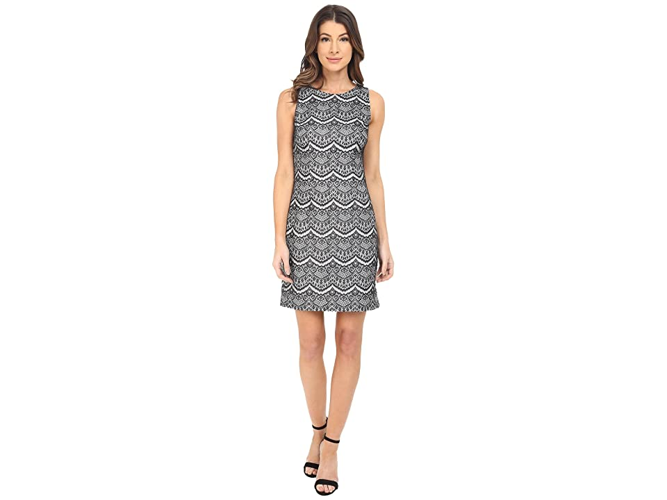 Jessica Simpson Bonded Lace Dress (Black/White) Women
