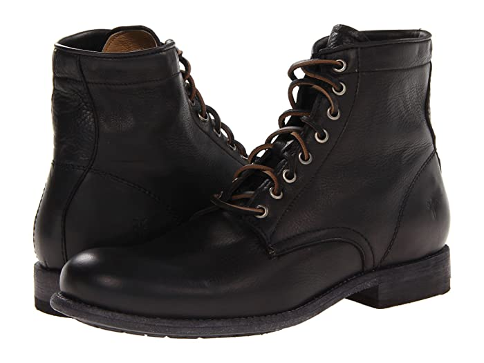 Steampunk Boots and Shoes for Men Frye Tyler Lace Up Black Soft Vintage Leather Mens Lace-up Boots $327.95 AT vintagedancer.com