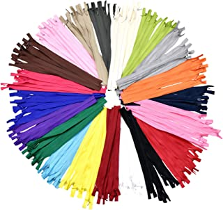 Nylon Invisible Zipper for Sewing, 8 Inch Bulk Hidden Zipper Supplies in 20 Assorted Colors; by Mandala Crafts