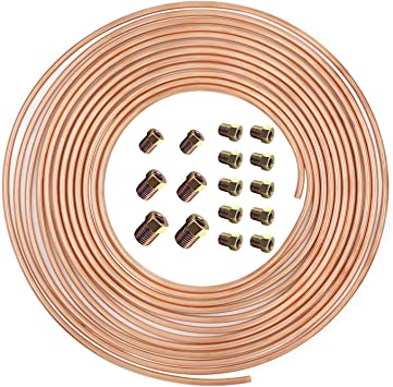 hikotor Flexible 25 Feet 3/16 Inch Copper Alloy Brake Line Tubing Kit with 16 Inverted Flare Fittings SAE Standard for Hydraulic Fuel Transmission System: image