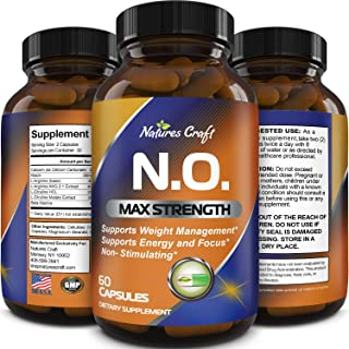 Nitric Oxide Booster Complex with L-Arginine L-Citrulline – Amplifier for Increased Endurance – Powerful Antioxidant – Wei...