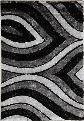 Flora Carpets Shaggy Luxury/ISILTI Tapis de Salon, Polyester, Gris/Noir, 230x160x3 cm