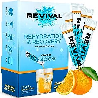 Revival Rapid Rehydration, Electrolytes Powder - High Strength Vitamin C, B1, B3, B5, B12 Supplement Sachet Drink, Efferve...