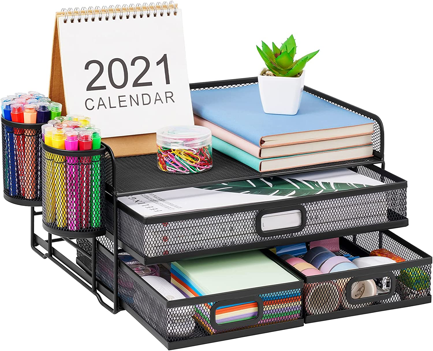 Marbrasse Limited time sale 3 Tier Mesh Desk Organizer with Multi-Function Max 49% OFF Drawer