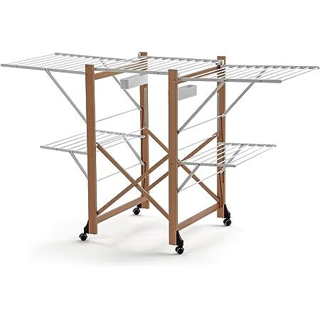 Arredamenti Italia - 600 GABBIANO - Étendoir à Linge, Bois, Marron, 175 x 67 x 105 cm