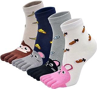 Calcetines Divertidos con Dedos Separados para Niñas Animales Calcetines de 5 Dedos, Calcetines con Dibujos de Gato Perro para Niñas de 3-12 Años, Talla 21-35, 4 pares