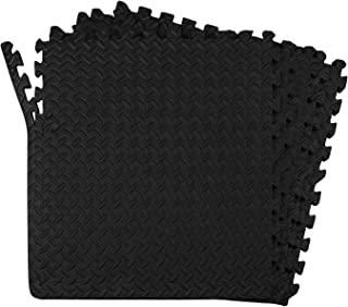 POCO DIVO 24-SQFT Dark Multi-Purpose Floor Mat Anti-Fatigue EVA Foam 6-Tile Interlocking Tile with 12-Border