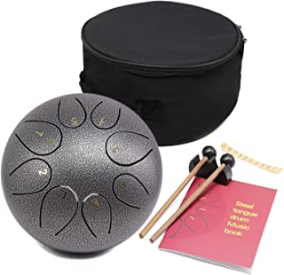 Steel Tongue Drum - 8 Notes 8 inches - Percussion Instrument -Handpan Drum with Bag, Music Book, Mallets, Finger Picks