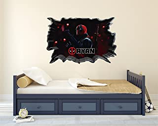 Deadpool Customs Name wall decal - 3D Smashed Wall Effect - Wall Decal For Home Decoration (Wide 20