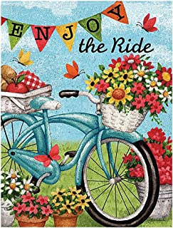 """ALAZA Welcome Flowers Bicycle Butterfly Daisy Summer Spring Double Sided House Flag Garden Banner 28"""" x 40"""", Enjoy The Ride Bike Sunflower Flowers Basket Garden Flags for Anniversary Yard Outdoor Dec"""