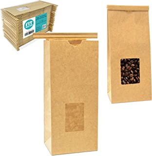[75 Pack] ½ lb Small Kraft Paper Bags with Window - Tin Tie Closure Resealable Food Bags, to Go Packaging for Bakery Coffee Shop, Snack Bars, Sandwich Cookies Muffins Dessert Treats and Party Favors