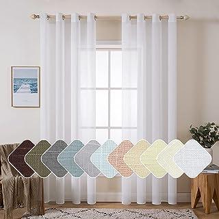 MIULEE 2 Panels Natural Linen Semi Sheer Window Curtains Elegant Solid Drapes Grommet Top Window Voile Panels Linen Textur...