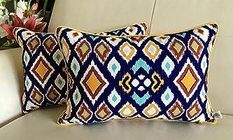 TARA Sparkling Homes Rectangular Reversible Premium Cotton Cushion Covers- 'Dramatic Ikat' from European Symphony- Royal...