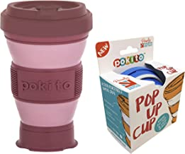 Pokito Pop Up Cup 475ml Pocket-Sized Reusable and Travel Mug - One Mug Pops to Three Sizes - Screw-top, Spill-Proof Lid, Built-in Insulation, Rose/Blush, DLE0056PK