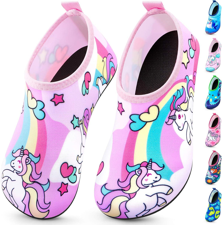 KingofKings Kids Water Shoes Quick Dry Non-Slip Water Skin Barefoot Kids Swim Water Shoes Children Aqua Socks for Beach Pool for Boys,Girls,Toddler, Infant
