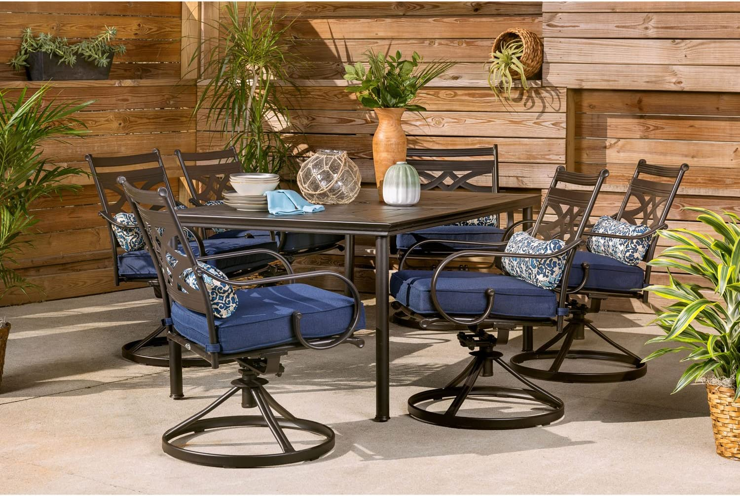 Hanover Montclair 10 Piece All Weather Outdoor Patio Dining Set, 10 Swivel  Rocker Chairs with Comfortable Navy Seat and Lumbar Cushions, 10